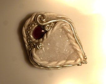 Pendant with Garnet and quartz crystal, garnet, 43 mm, druzy pendant, polymer clay
