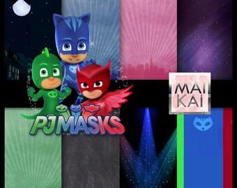 PJ Masks digital paper, pj masks clipart, pj masks paper, pj masks invitation, pj masks birthday. instant download