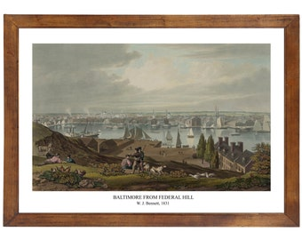 Baltimore From Federal Hill, W. J. Bennett, 1831; 24x36 inch print reproduced from a vintage painting or lithograph