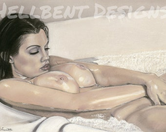 Original Art Print - In The Bath Painting, Nude, T.A. Schmitt, Artist