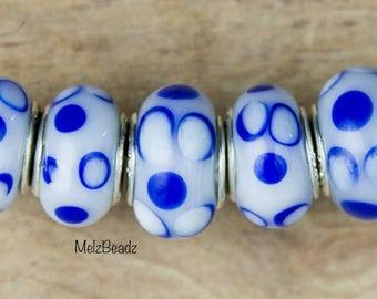 Murano lampwork beads, European beads glass, European style beads, pandora beads, floral beads, large hole beads, large glass bead, lampwork