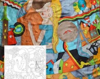 "Template for batik ""Love in near"", Draft for Batik (shawl 35x35 in.), painting on silk, silk painting basics, cold batik technique"