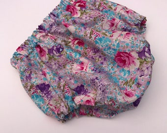 Baby girl, toddler, floral, purple, pink, handmade, bloomers, skirt, nappy cover, diaper cover, shorts, summer, rose