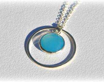 Sterling Silver Necklace, Small Pendant Necklace, Wedding Necklace, Chalcedony Necklace Small Charm Necklace, Blue Necklace, Dainty Necklace