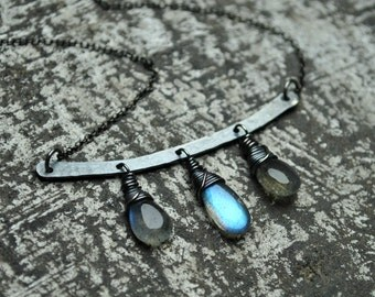 Gemstone Necklace, Labradorite Necklace, Oxidized Silver Bar Necklace, Labradorite Jewelry, Boho Necklace, Handmade Jewelry, Gift For Her