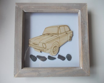 Hillman Imp Picture -  Etched wood Hillman Imp with Sea Slate in distressed wood frame