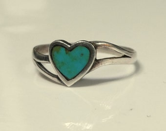 Vintage Sterling Silver Marbled Turquoise Heart Ring
