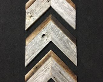 Reclaimed Barn Wood Chevron Arrows - Set of 3