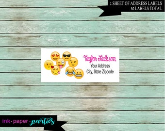 Emoji Emojis Emojicons Birthday Party Return Address Gloss Labels Personalized Custom ~ We Print and Mail to You
