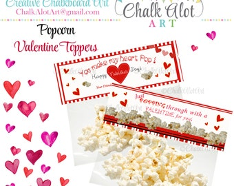 You make my heart POP Treat Bag Toppers, Popping through with a Valentine for you Favors, Valentine's. Popcorn, Valentines, Instant Download