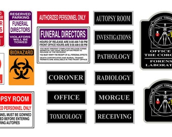 scale model coroner autopsy morgue signs