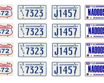 scale model US Governmental license tag plates set