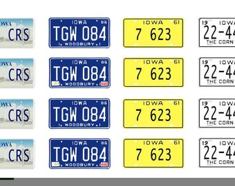 scale model car Iowa license tag plates
