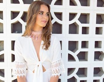 Adele Boho White Lace Dress | Bohemian Dress with Sleeves | White Lace Shift Dress
