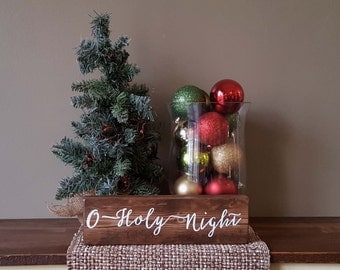 O Holy Night Wooden Block Sign - 12""
