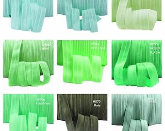 Colour Chart 7 - FOE Fold Over Elastic 5/8th Inch 16mm - per 1 Yard - Green, Mint, Lime