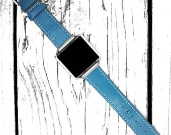 Fitbit Blaze Watch Band Genuine Leather Blue  22mm Smart Watch Straps Single Tour Wrist Bracelet With Fit Bit Frame for Women and Men
