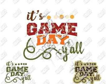 It's game day y'all svg dxf eps jpeg format layered cutting files screen print die cut decal vinyl cricut silhouette