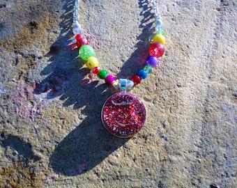 Snow Globe Necklace Snow Globe Jewelry, Multi Colored Necklace Multi Color Necklace, Multi Color bead Gem Necklace, Cinco de Mayo,