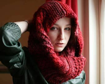 Cozy Handmade Red Stripey Knitted Infinity Scarf