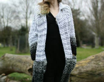 Beautiful Handmade Coat, Black and White Ombre, Chunky Knit, Gorgeous, Size S/M