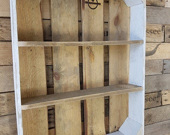 White BBQ Spice rack shelf Board of old wood + spice jars