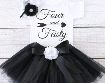 Four and Feisty. Girls Birthday Tutu Outfit. Four Year Old Birthday Outfit. Birthday Outfit 4. Fourth Birthday Outfit. T04 4BD (BLACK)