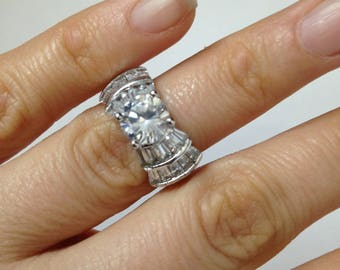 Vintage Style Engagement Ring, 2.00ct Vintage Style Engagement Ring 925 Sterling Silver Fine Diamond Simulant Rhodium Finish
