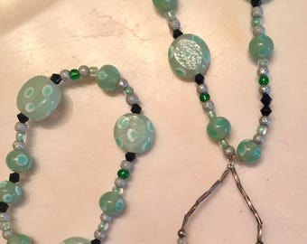 Mint creme Necklace, Bracelet and Earrings Set