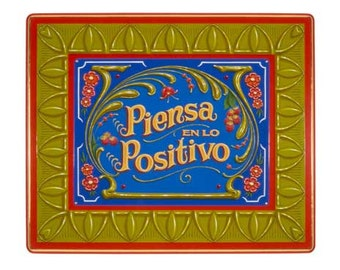 Piensa en lo Positivo - Poster - Sign painting, fileteado, flowers, raspberries