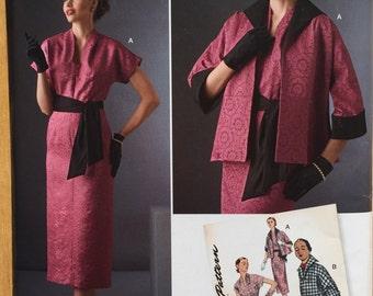 Simplicity Pattern D0582 1950's Vintage Misses Dress, Sash & Lined Jacket