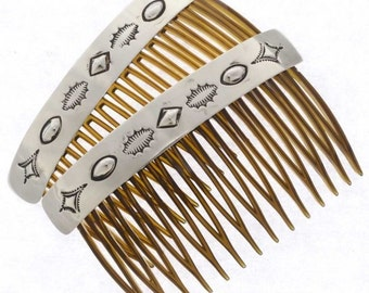 Navajo Hammered Silver Hair Combs Set Of Two