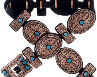Navajo Copper Concho Belt 70's Sleeping Beauty Turquoise