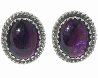 Native American Purple Paua Shell Earrings Twist Wire Silver Studs