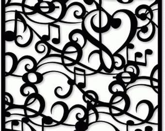 """Musical Notes Background 190 micron Mylar Stencil durable and sturdy- 6 x 6 """" - 8 x 8 """" - 12 x 12"""" Free UK p&p"""