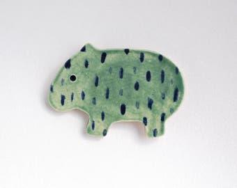 Jade Green Rainy Wombat Ceramic Magnet