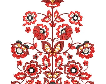 Flower embroidery design. Machine embroidery design. Ornament. Tree of Life embroidery design. Ukrainian flower. Pattern embroidery.
