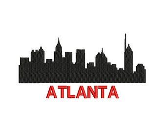 Atlanta Embroidery Design. Silhouette Atlanta Embroidery. Machine Embroidery. Atlanta Design. City Skyline Embroidery. Silhouette Atlanta.