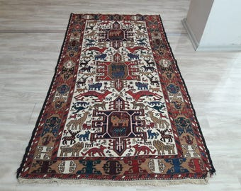 "Turkish Kilim Rug,3'47""×6'55""feet,106×200cm,Decorative Turkish Vintage Kilim Rug,"