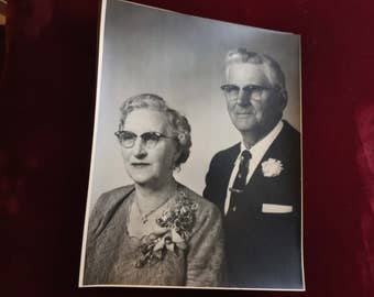Pair of retro vintage 10 x 8 Photographs of Adults