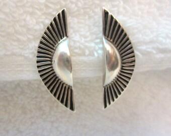 Sterling Silver 925 Sunburst Earrings Clip Signed Sun 1/2 Circle Vintage
