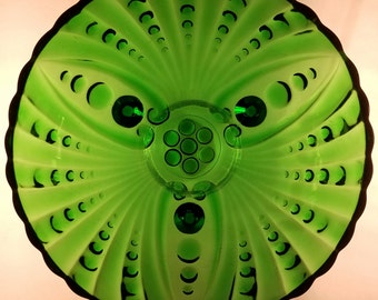 Emerald green bubble swirl bowl