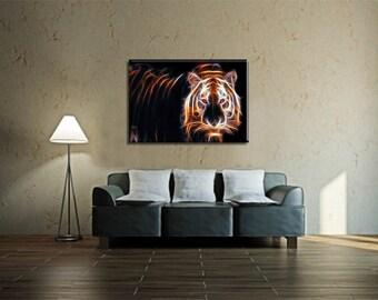 Tiger Wall Art, Lighted Canvas Art, Tiger Canvas, Lighted Canvas, Tiger Print, Lighted Wall Art, Tiger Art, Wildlife Art, Wildlife Prints