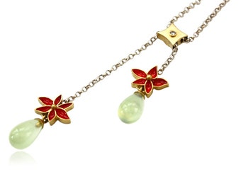 Silver necklace gold flower green Prehnite, unique jewelery, jewels, single piece, goldsmith work, handwork, gifts for her