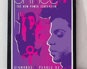 Prince reimagined drawn unframed gig poster. Specially created.
