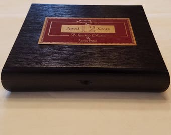 Wooden Cigar Box, Rocky Patel, Vintage Series, Aged 12 Years, Black Cigar Box