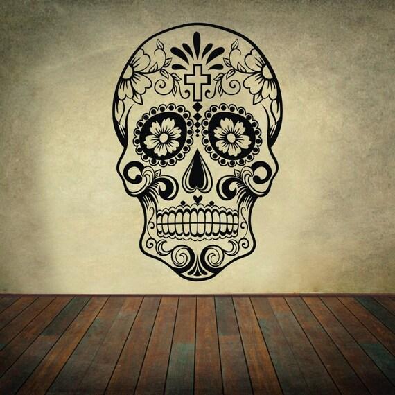 Mexican sugar skull sticker vinyl decal my sugar skulls for Dia de los muertos mural