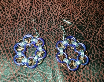 Chainmail jewelry earrings. Purple and bronze helm weave.