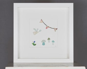 Sea Glass, Woodland,  Fairy, Toadstool, bunting,