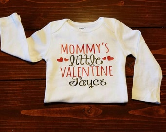 Personalized Mommy's Little Valentine! For boys or girls! Red hearts!